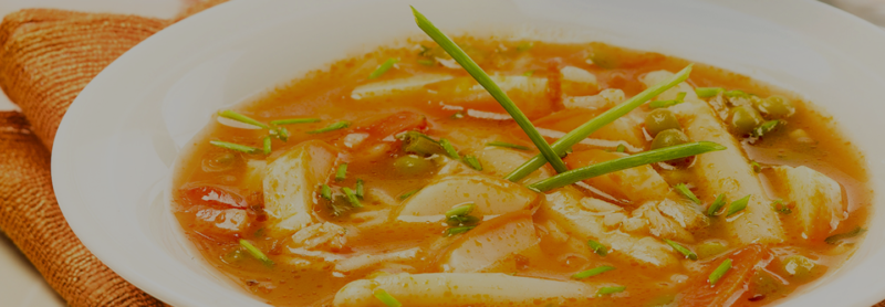 sopa colas de oceano arroz y verdura
