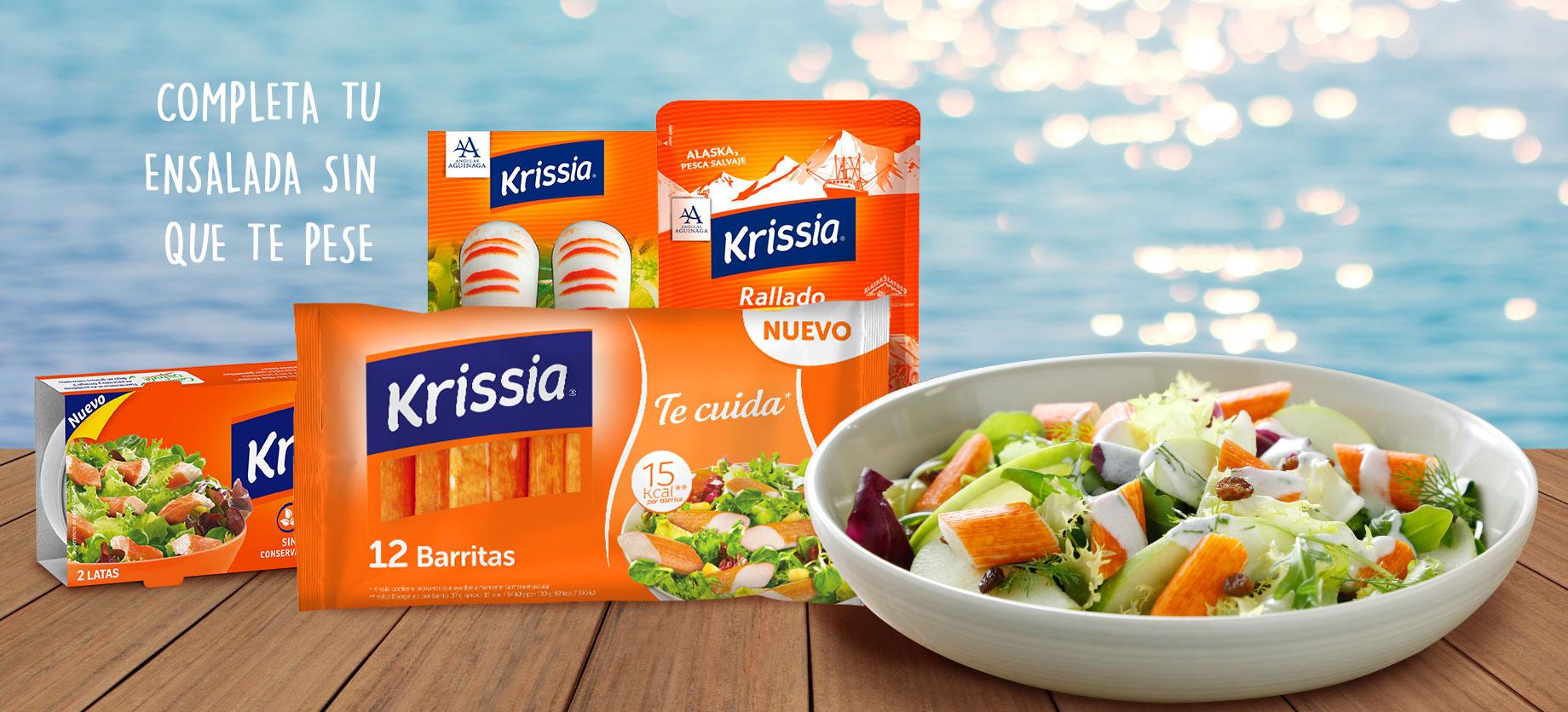 Productos de surimi Krissia con ensalada
